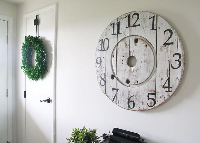 Cable Spool Clock Farmhouse Entry