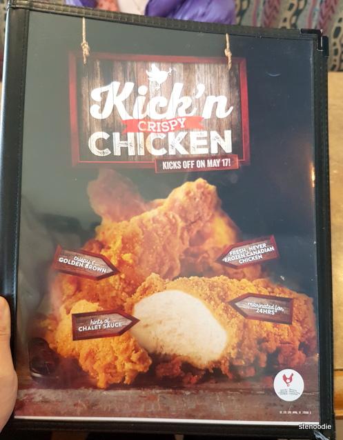 Kick'n Crispy Chicken menu