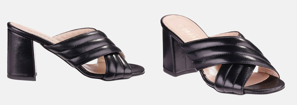 Madeleine black block heel crossover mules