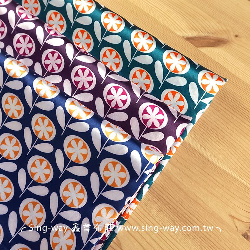 花 絲巾領巾 亮面 緞面服裝布料 CH790408