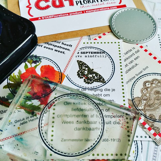Some fun things you can do with stamp and die sets (these are from @stamplorations ) and old 365 #mindfulness calender from @flow_magazine - cut the images out in shapes for buntings or textures for in your artjournal like I have done 😊 . . . #craft