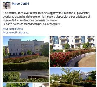 Uno dei post del consigliere Marco Certini, sulle nuove opere di verde pubblico