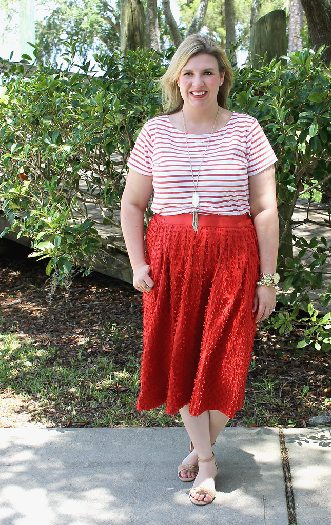 red midi skirt red stripe shirt 4