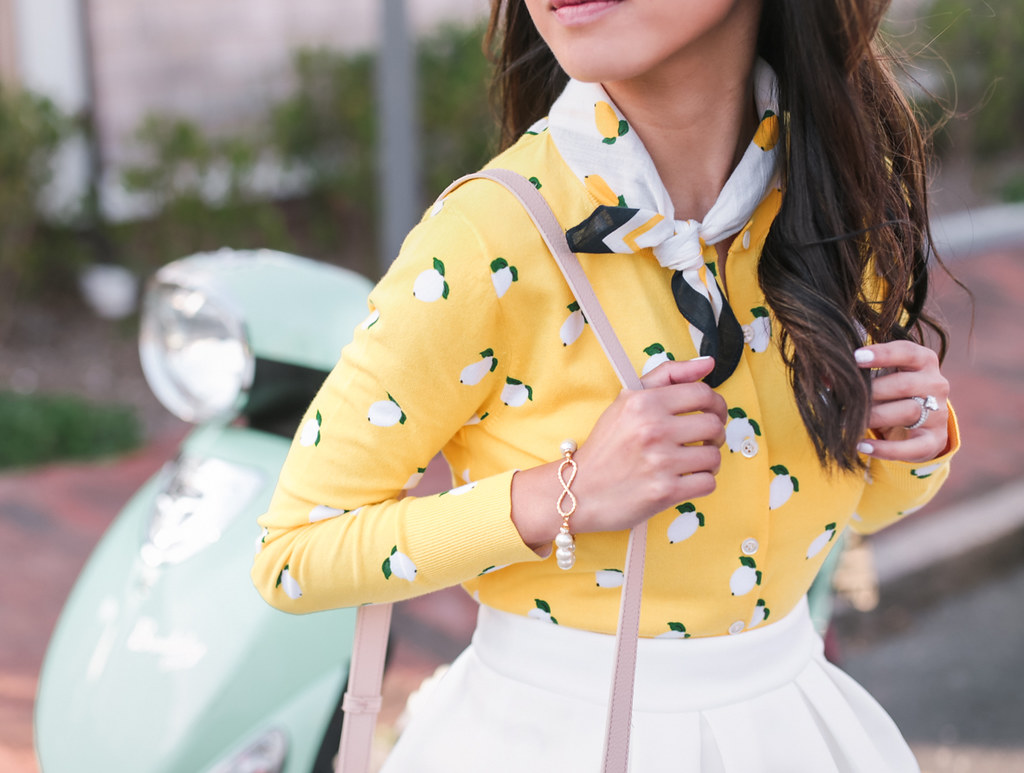 jcrew lemon print cardigan sweater extra petite fashion blog