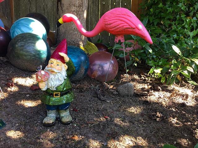 Bowling balls, garden gnomes and pink flamingoes.