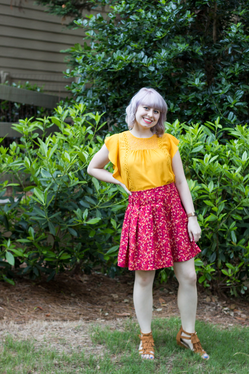 Yellow Target Blouse, Pleated Floral Print Skirt, Fringe Sandals