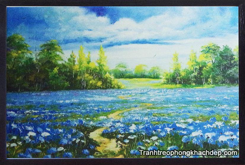 Tranh treo dong hoa xanh thien nhien treo nha nghi khach san