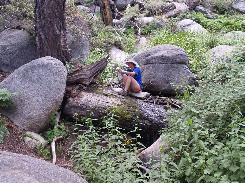 Vicki filtering water at Deer Springs on the Pacific Crest Trail