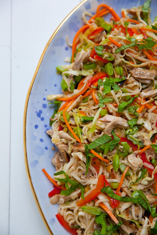 Spicy Rice Noodle Salad with Chicken and Crunchy Veggies ...