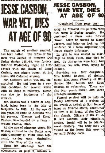 Casbon Jesse b1843 Obit 1934 Vidette
