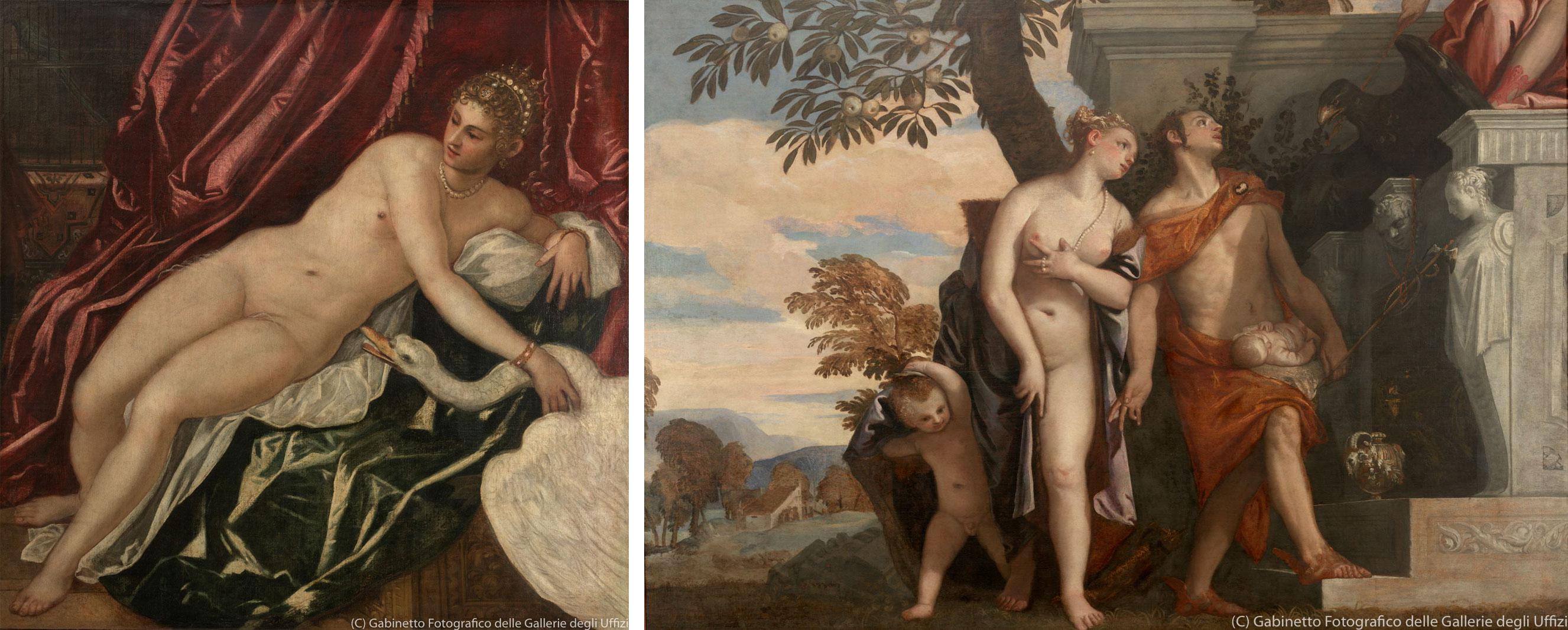 左)ティントレット(ヤコポ・ロブスティ)の《レダと白鳥》(1551-55年、ウフィツィ美術館) 右)パオロ・ヴェロネーゼの《息子アンテロスをユピテルに示すヴィーナスとメリクリウス》(1561-65年頃、ウフィツィ美術館)