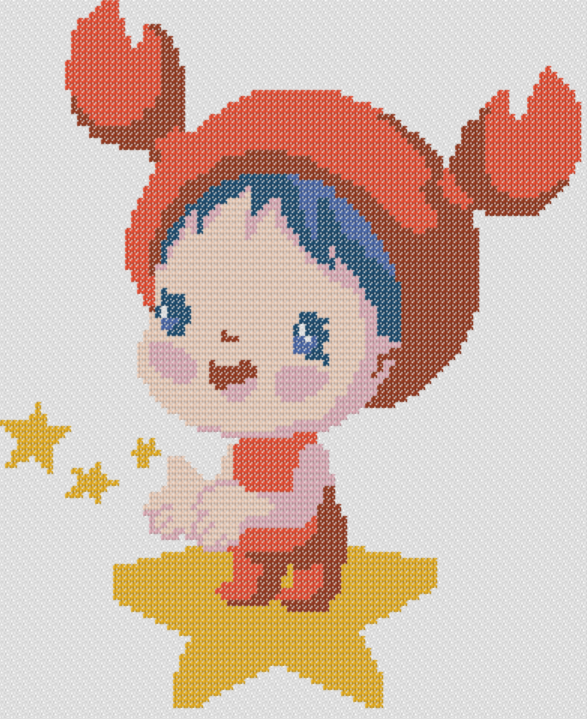 Preview of Cross Stitch Patterns: Baby Cancer (Baby Zodiac Series)