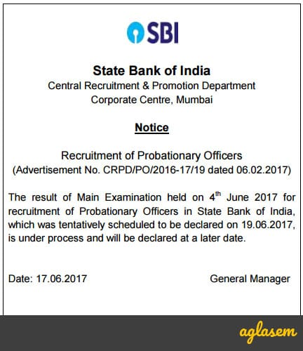 SBI PO Main Result 2017 Delayed; Not to be Announced on June 19