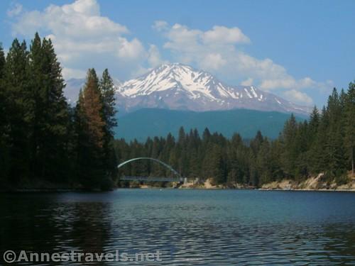 The bridge and Mt. Shasta over Lake Siskiyou, Shasta-Trinity National Forest, California