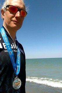 Ornoth at Lake Erie with finisher's medal