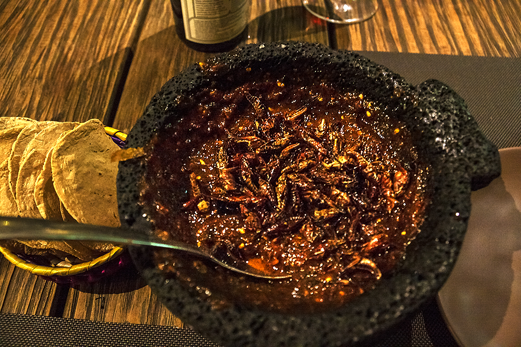 Insect feast, prepared at table, at Los Limosneros--Mexico City
