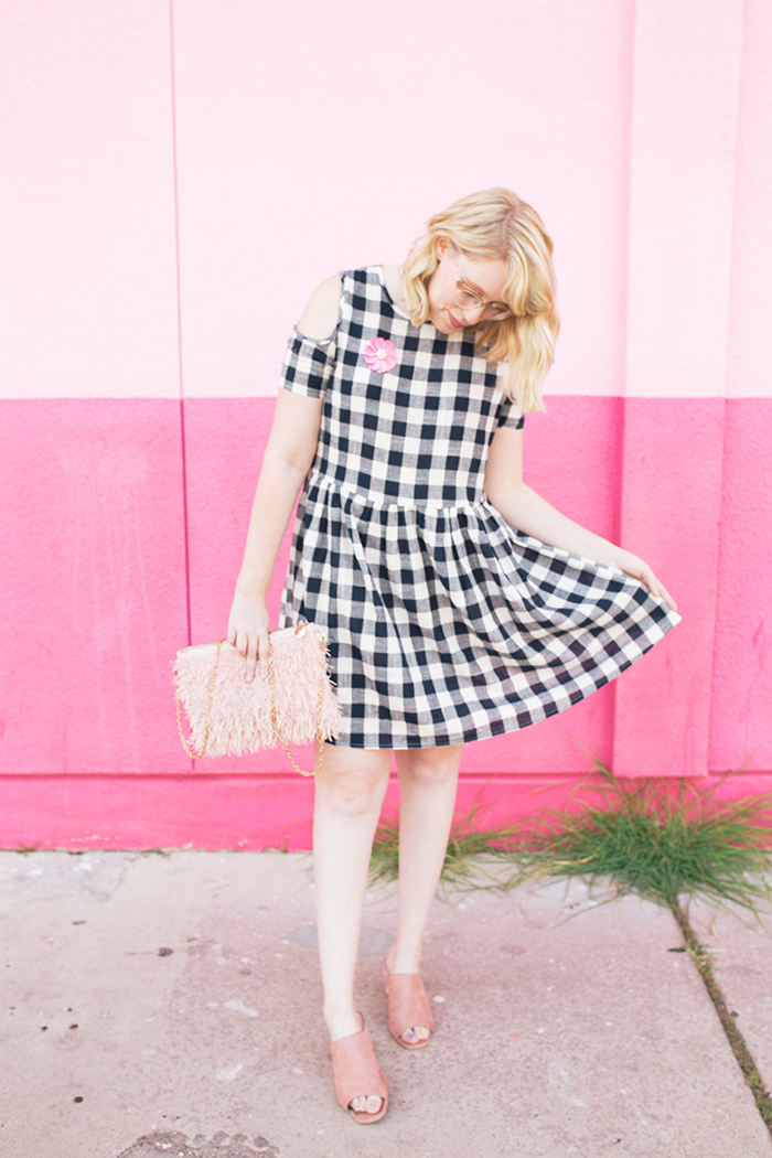 austin fashion blogger writes like a girl gingham dress pink mules17