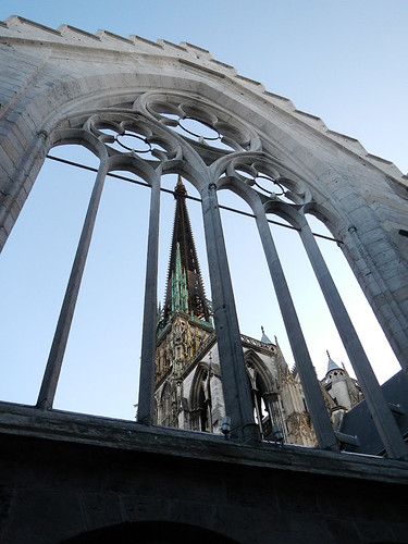 A view of the Gothic Cathedral in Rouen, France through a facade