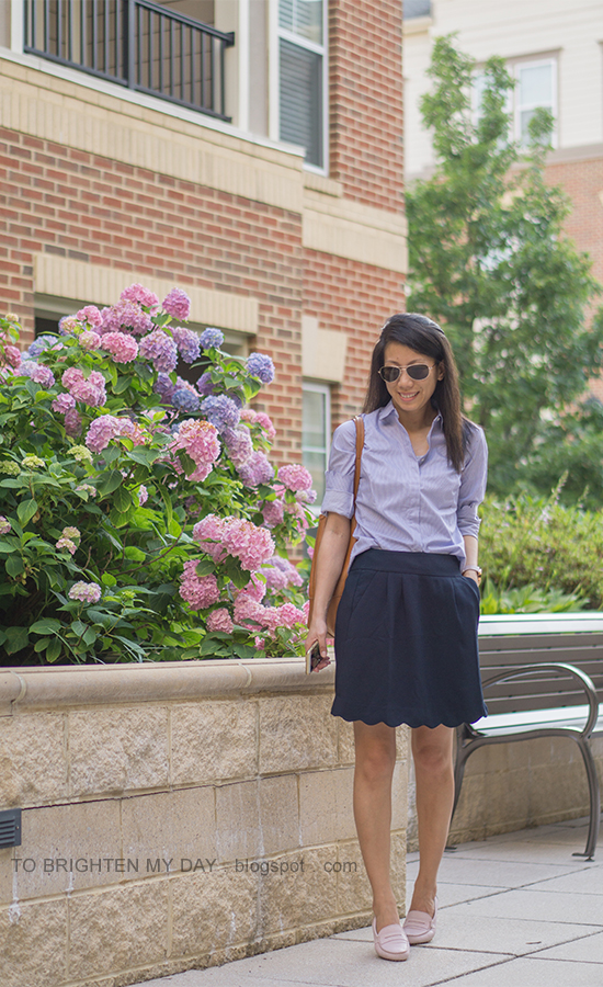 striped shirt with scallops, navy skirt with scalloped hem, cognac brown tote, light pink loafers