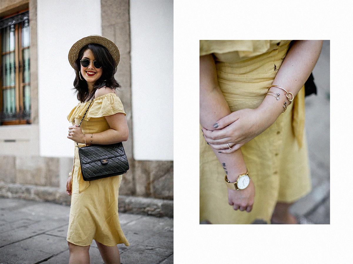 vestido-amarillo-hombros-descubiertos-zara-chanel-vintage-vestiaire-collective14