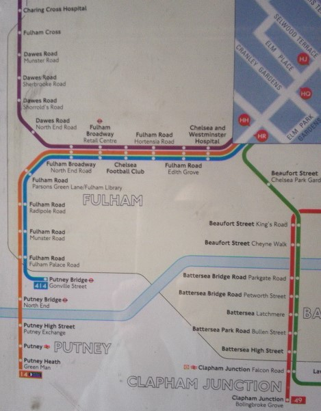 Fulham Road bus map