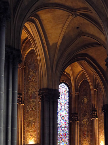 Stained-glass windows in the Lille Cathedral in France