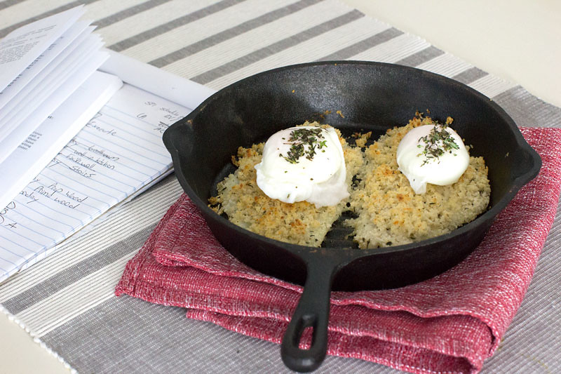 Panko crusted flounder with poached eggs