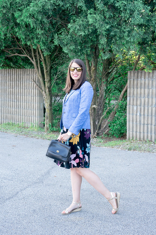 J.Crew chambray blazer + Who What Wear for Target floral shirt dress + gold Merona wedge sandals; summer work outfit | Style On Target blog