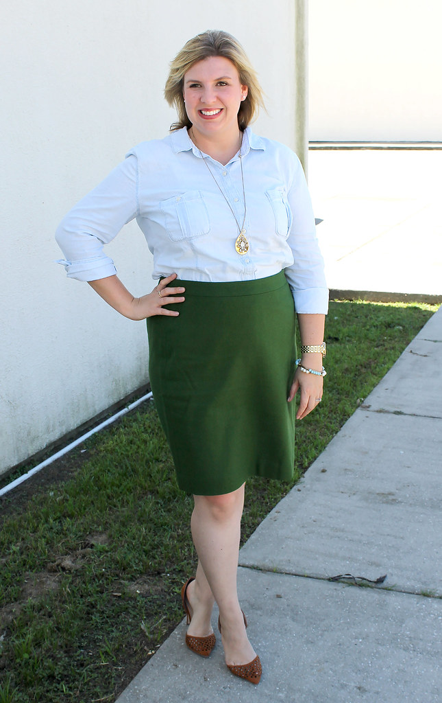 chambray skirt and green pencil skirt 3