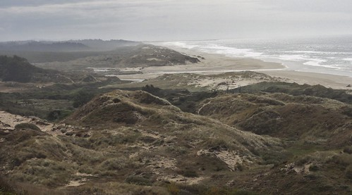 Image shows a vista of grass-covered sand dunes along the ocean. In the top third of the photo, a creek can be seen cutting through the dunes to the sea. Everything vanishes into a soft haze in the distance.
