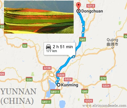Mapa de situación de las Tierras Rojas de Dongchuan en Yunnan (China)