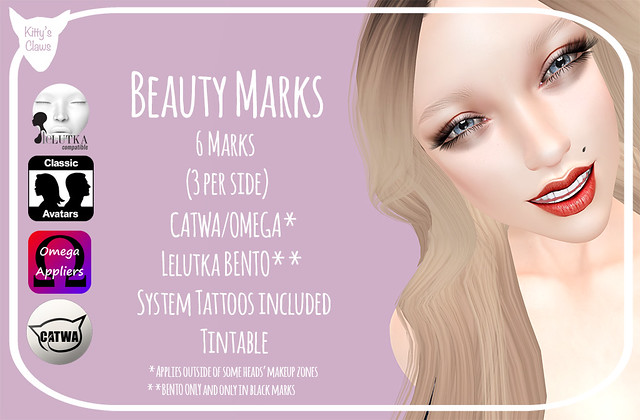 Kitty's Claws: Beauty Marks - NOW FOR LELUTKA BENTO