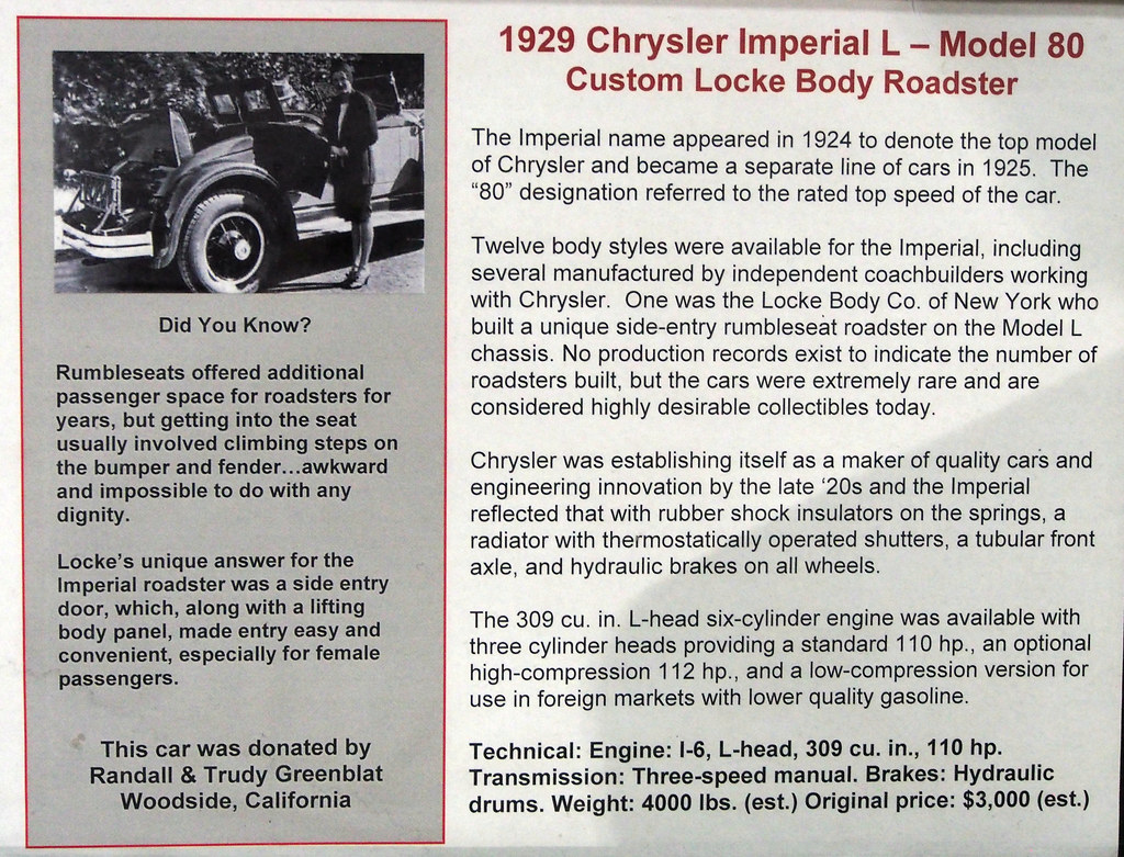 1929 Chrysler Imperial Model 80 Convertible Coupe with Loc
