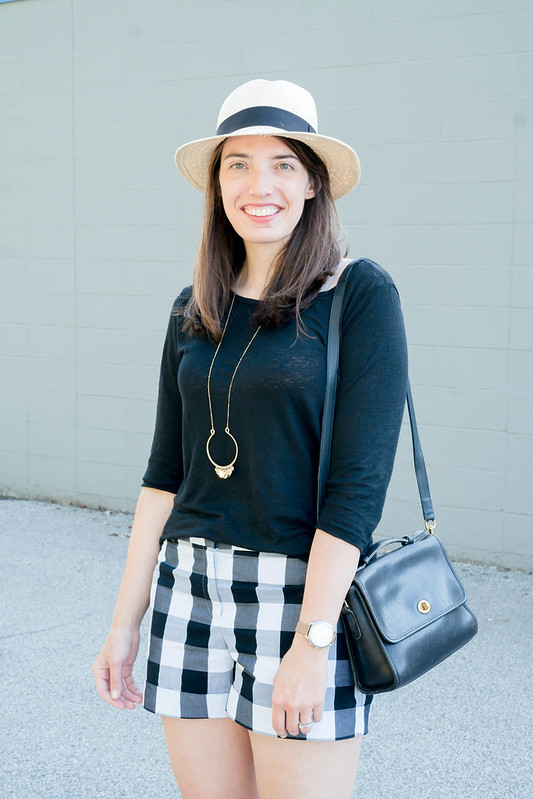 Loft gingham black and white shorts + J.Crew linen tee + target wedge sandals; casual summer outfit | Style On Target blog