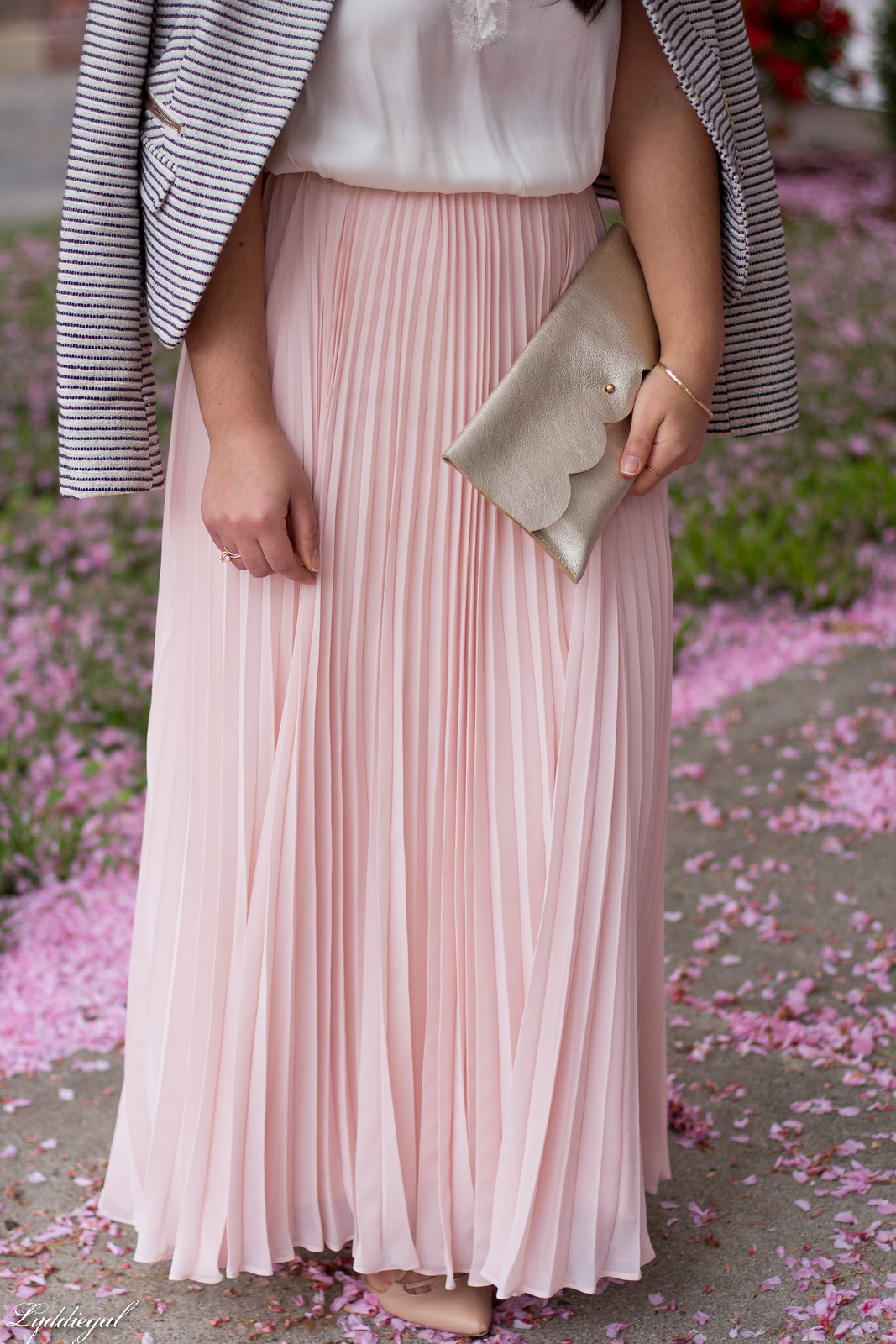 blush pleated maxi skirt, lace cami, striped blazer, scalloped clutch-4.jpg