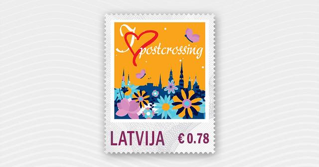 Postcrossing personalizēta pastmarka