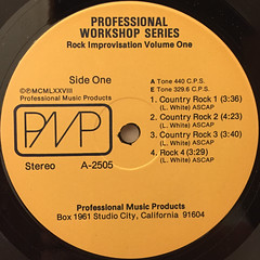 UNKNOWN ARTIST:PROFESSIONAL WORKSHOP SERIES ROCK IMPROVISATION VOLUME ONE(LABEL SIDE-A)