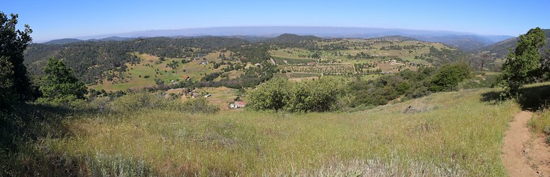 Panorama view west from the Five Oaks Trail showing the rolling farmland near Julian