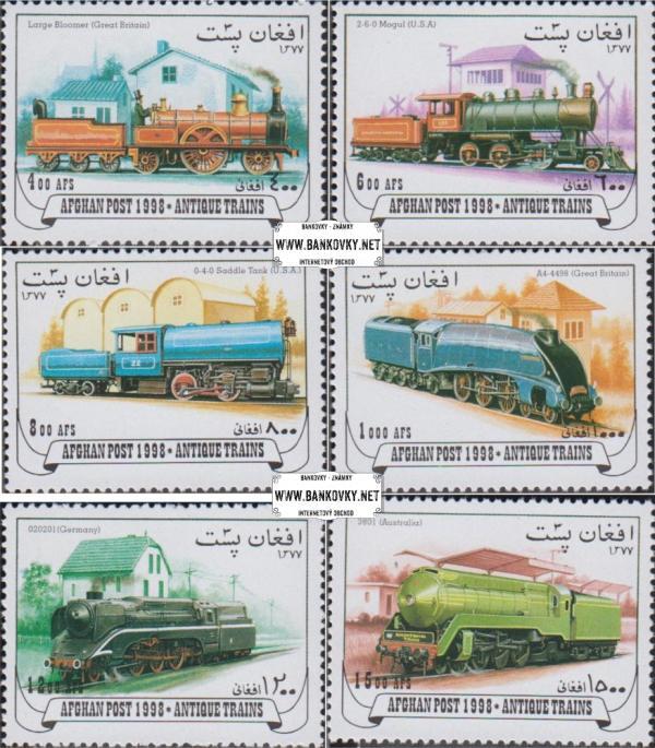 Známky Afganistan 1998 Staré lokomotívy, razítkovaná séria
