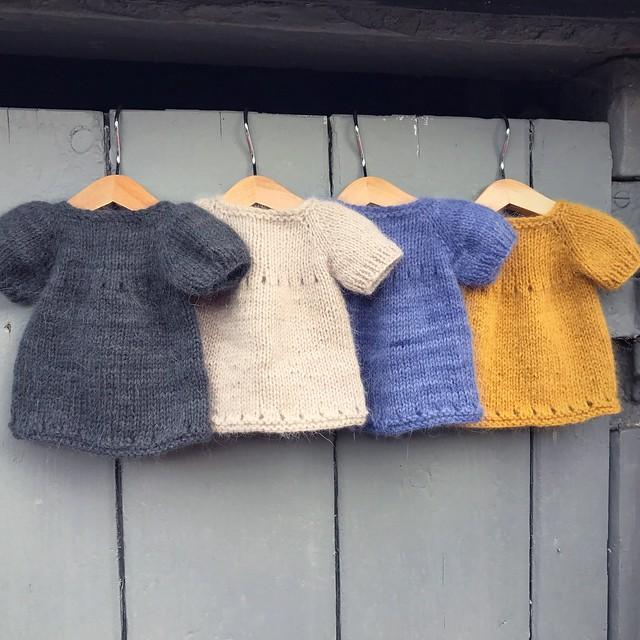 A sweet hand knit doll dress by Luletti