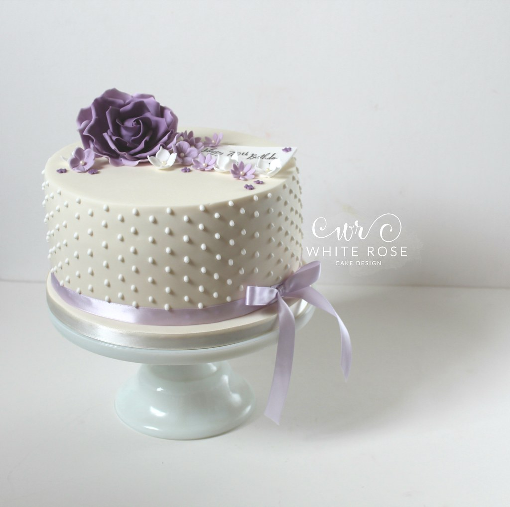 Purple Lilac 70th Birthday Cake By White Rose Cake Design Flickr