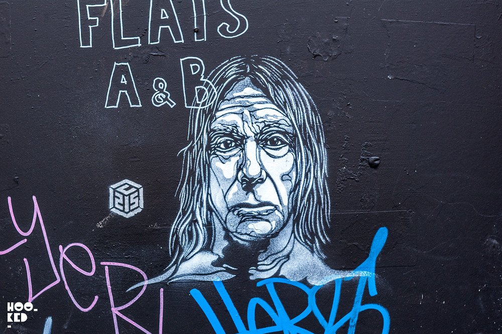 Iggy Pop Stencil portrait by French Street Artist C215