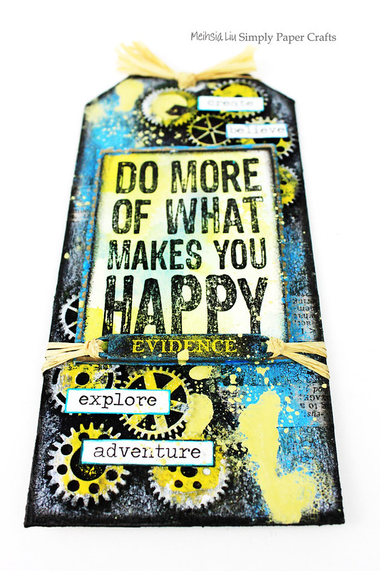 Meihsia Liu Simply Paper Crafts Mixed Media Tag Happy Darkroom Door Simon Says Stamp Monday Challenge 1