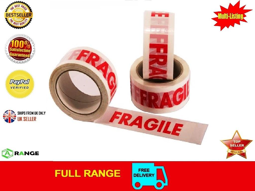 12 ROLLS FRAGILE PRINTED STRONG PARCEL TAPE MULTILISTING 12 6 24 36 72 48mm 66m