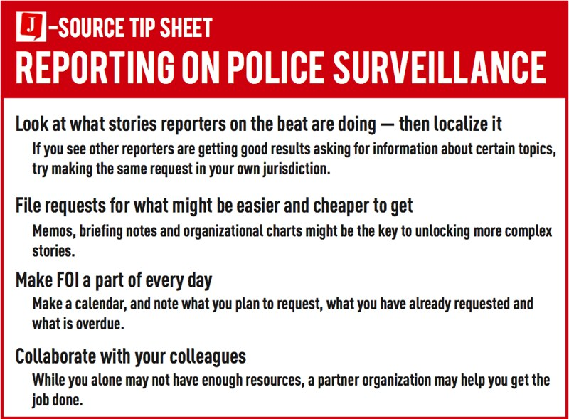 Tip sheet for reporting on police surveillance