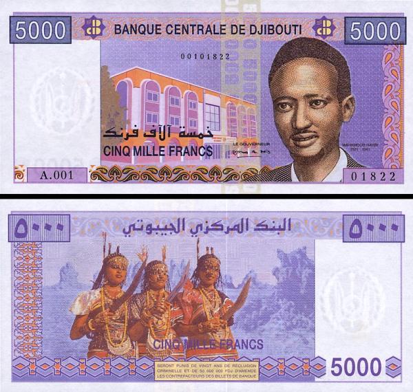 5000 džibutských frankov Džibutsko 2002, P44