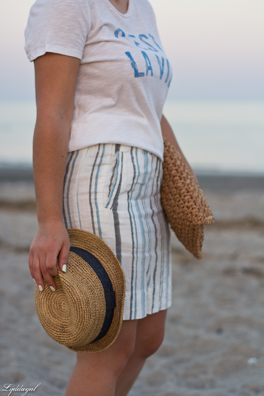 c'est la vie tee, striped linen skirt, straw fedora, clutch-6.jpg