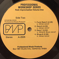 UNKNOWN ARTIST:PROFESSIONAL WORKSHOP SERIES ROCK IMPROVISATION VOLUME ONE(LABEL SIDE-B)