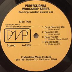 UNKNOWN ARTIST:PROFESSIONAL WORKSHOP SERIES ROCK IMPROVISATION VOLUME ONE(LABEL SIDE-B)