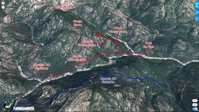 Carte 3D du ruisseau du Finicione entre le pont de Figa et le ravin de Ricu avec la partie démaquisée du sentier RG